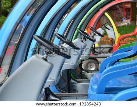 Golf Carts steering wheel - stock photo
