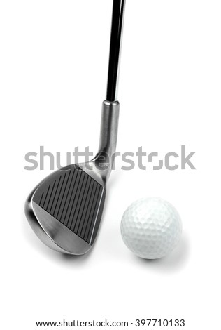 Golf club and ball on white background - stock photo