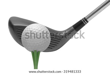 Golf club and golf ball isolated on white - stock photo
