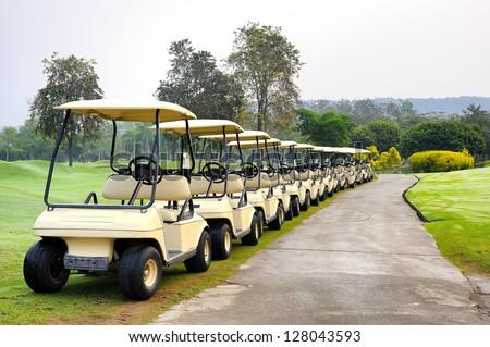 Golf club car - stock photo