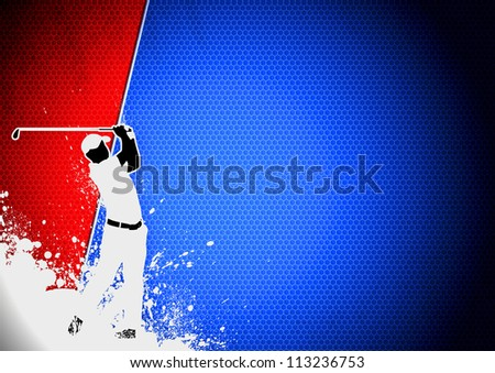 Golf club poster: Man golf swing poster background with space - stock photo