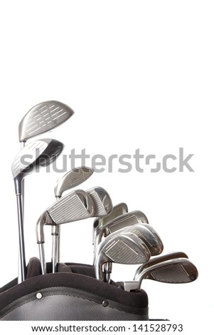 golf clubs in golf bag isolated on white background - stock photo