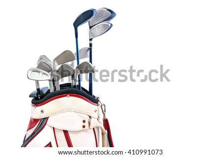 Golf clubs in white golf bag isolated on white background - stock photo