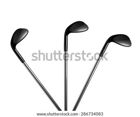 Golf clubs on white background - stock photo