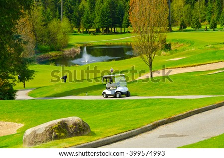 Golf course and sand bunkers.  Vancouver, Canada. - stock photo