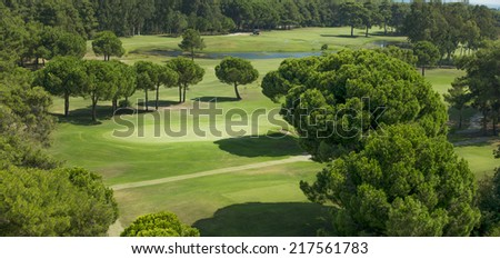 Golf course from top - stock photo