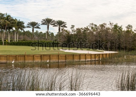 Golf course hole - stock photo