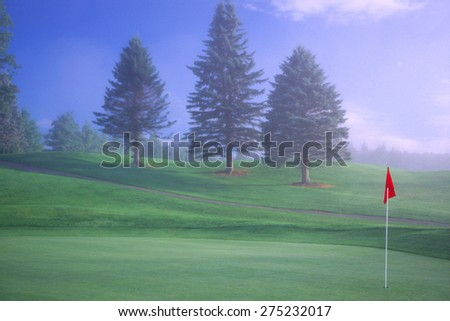 Golf course hole and green with a red flag and three trees in the early morning fog. - stock photo