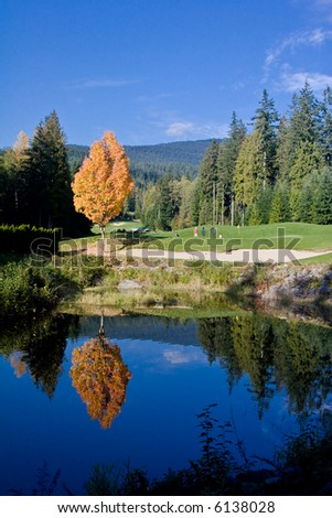 Golf course in the fall - stock photo