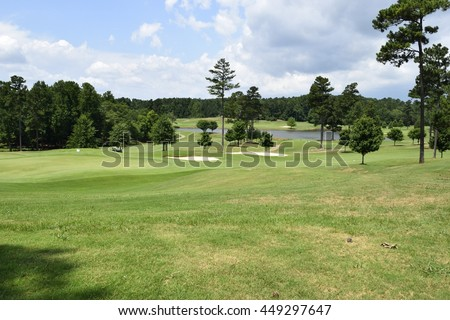 Golf course landscape - stock photo