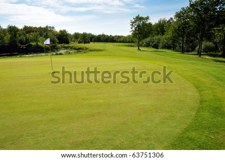 Golf course landscape on Bornholm Island, Denmark, Europe - stock photo