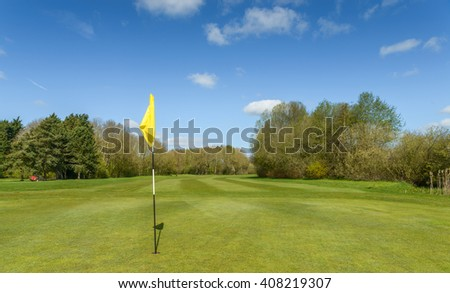 Golf course on a sunny day - stock photo