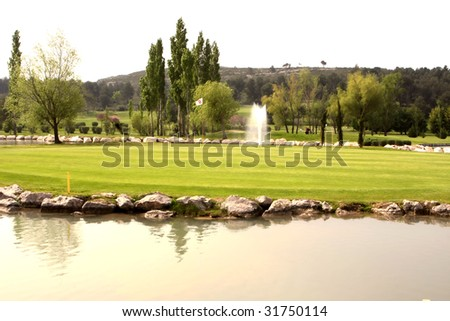 golf course, provence, france - stock photo
