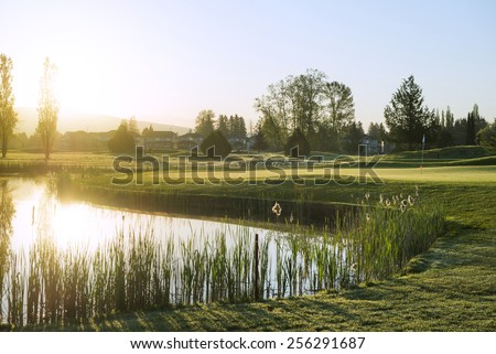 Golf Course Sunrise - stock photo