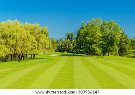 Golf course with gorgeous green. - stock photo