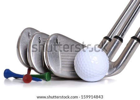 golf equipment clubs ball tees isolated white background - stock photo