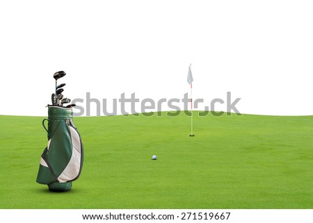golf equipment on green and hole on white background. - stock photo