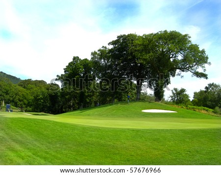 golf fairway and bunker with large tree in the background blue sky - stock photo