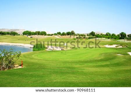Golf field in Cyprus. - stock photo
