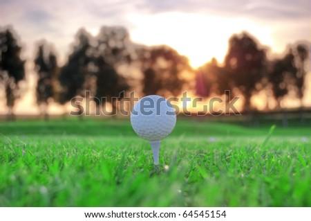 Golf game. Golf balls in grass. - stock photo