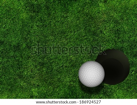 Golf Grass Background with Golf Ball and Hole.  - stock photo