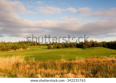 Golf green viewed from the hazard. - stock photo