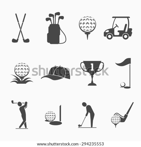 Golf icon set. Sport game, equipment and play, hole and flag, hobby activity - stock photo