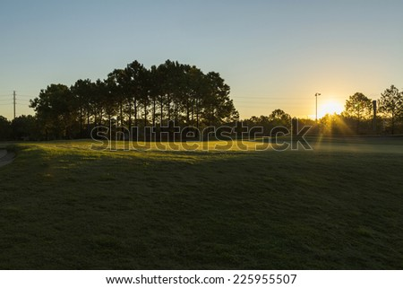 Golf in spa resort, morning on the golf, Orlando, Florida, USA - stock photo
