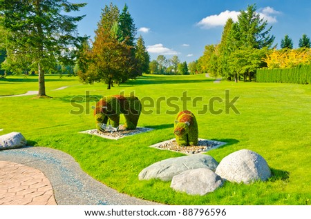 Golf place with nice decoration and landscape. - stock photo