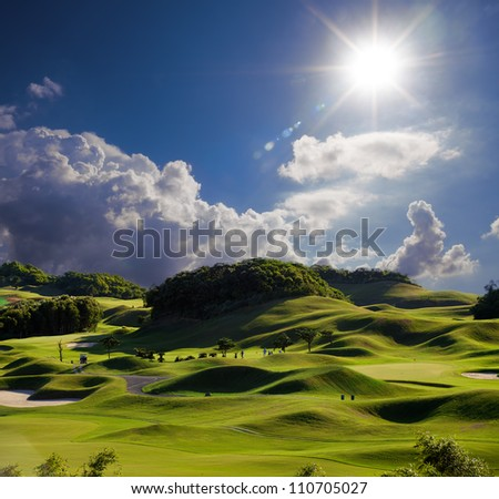 Golf place with wonderful green - stock photo