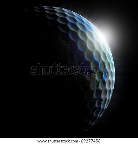 golf planet - golf ball textured planet with sun rising - stock photo