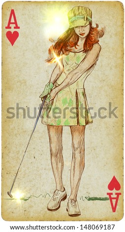 Golf player (Autumn Day). Hand drawn illustration on old card. - stock photo