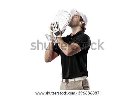 Golf Player in a black shirt celebrating with a glass trophy in his hands, on a white Background. - stock photo