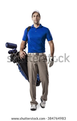 Golf Player in a blue shirt walking with a bag of golf clubs on his back, on a white Background. - stock photo