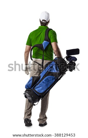Golf Player in a green shirt walking with a bag of golf clubs on his back, on a white Background. - stock photo