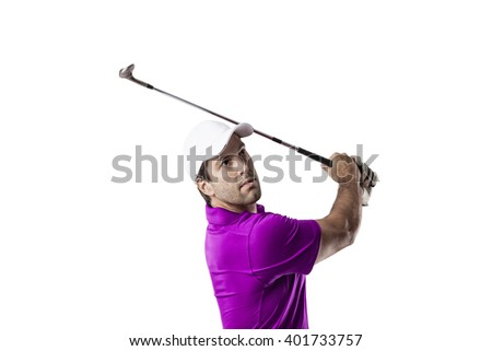 Golf Player in a pink shirt taking a swing, on a white Background. - stock photo