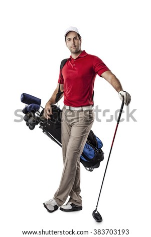 Golf Player in a red shirt, standing with a bag of golf clubs on his back, on a white Background. - stock photo