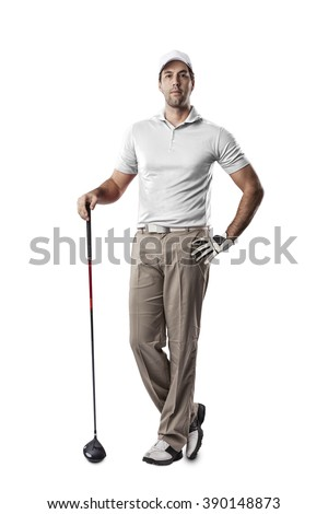 Golf Player in a white shirt standing on a white Background. - stock photo