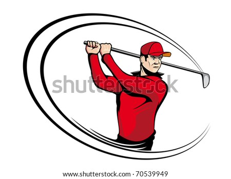 Golf player isolated on white for sports design - also as emblem. Vector version also available in gallery - stock photo