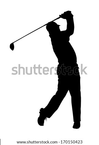 Golf Sport Silhouette �¢?? Golfer finished hitting Tee-shot - stock photo
