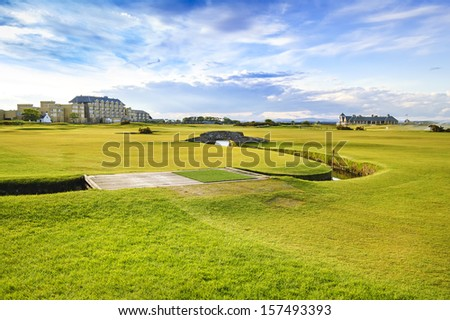 Golf St Andrews old course links, fairway and stone bridge on Hole 18. Fife, Scotland, Uk, Europe. - stock photo
