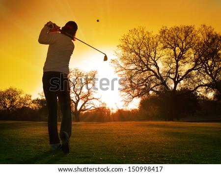 golf sunset - stock photo