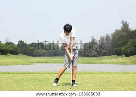 golf swing - stock photo