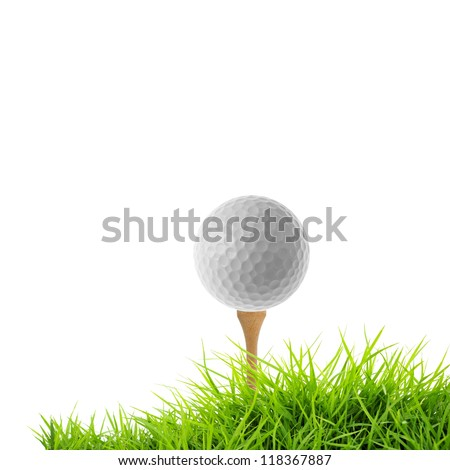 golf tee off isolated on white - stock photo