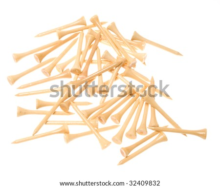 Golf tees isolated on white - stock photo