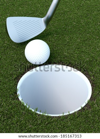 golf with a ball and putter - stock photo