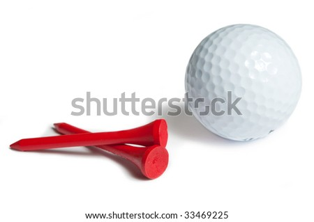 Golfball and red tee. white background - stock photo