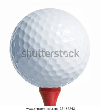 Golfball on a red tee. white background - stock photo
