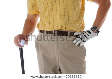 Golfer close up studio shot isolated on a white background - stock photo