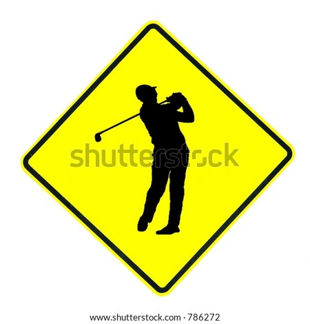 Golfer Crossing sign isolated on a white background - stock photo